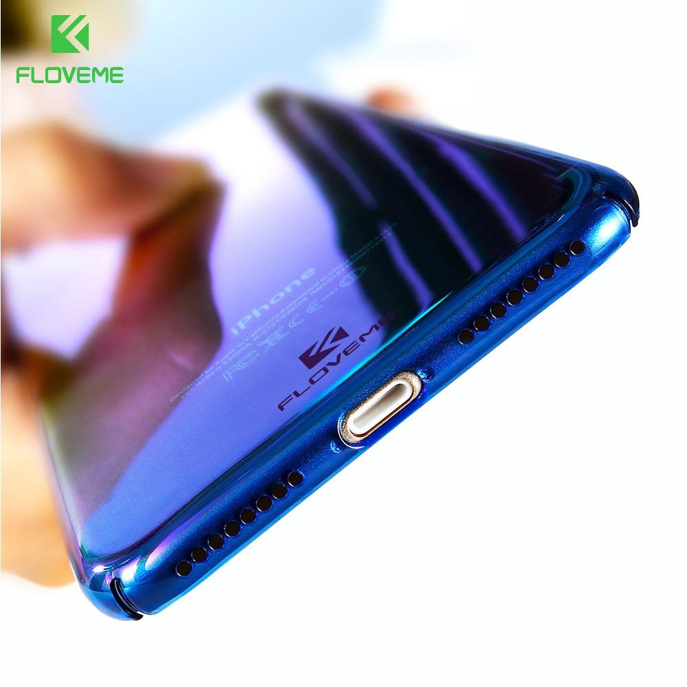 FLOVEME Per iPhone X 6 6 S Plus Caso 5 SE Gradiente Blu-Ray Luce caso Per Apple iPhone 7 8 Plus X 5 S SE Chiaro Accessori copertura