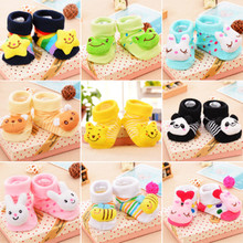 Caratal 12 Pair / Lot Fashion Animal baby socks baby boy girl cotton socks rubber anti slip floor cartoon kids Toddlers
