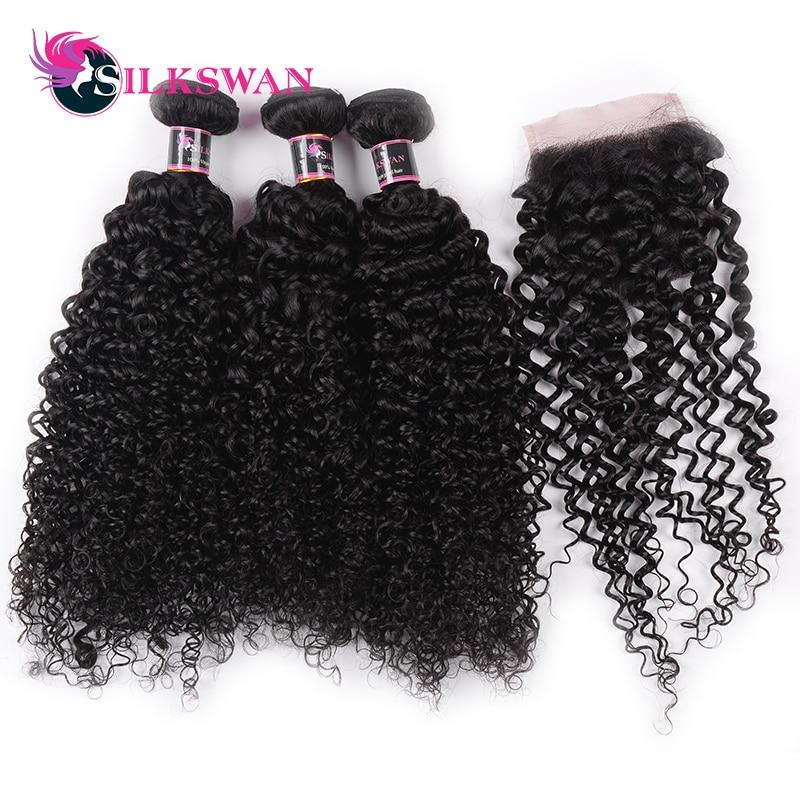 Silkswan Hair Peruvian Kinky Curly Human Hair Swiss Lace Closure Remy Hair 8 26 Inch 3