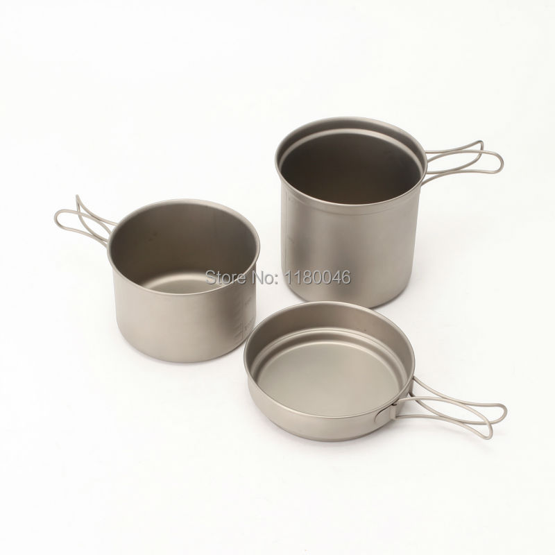 2014 New Style font b Camping b font cookware Titanium Cooking Pots And Pans Set For