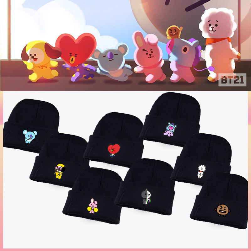 Detail Feedback Questions about Kpop Bangtan Boys ARMY BTS BT21 Fans Club  Beanie Hip Hop Cartoon Cute Printed K pop Knitted Cap Unisex Cool Korean  Style Hat ... 748991abff12