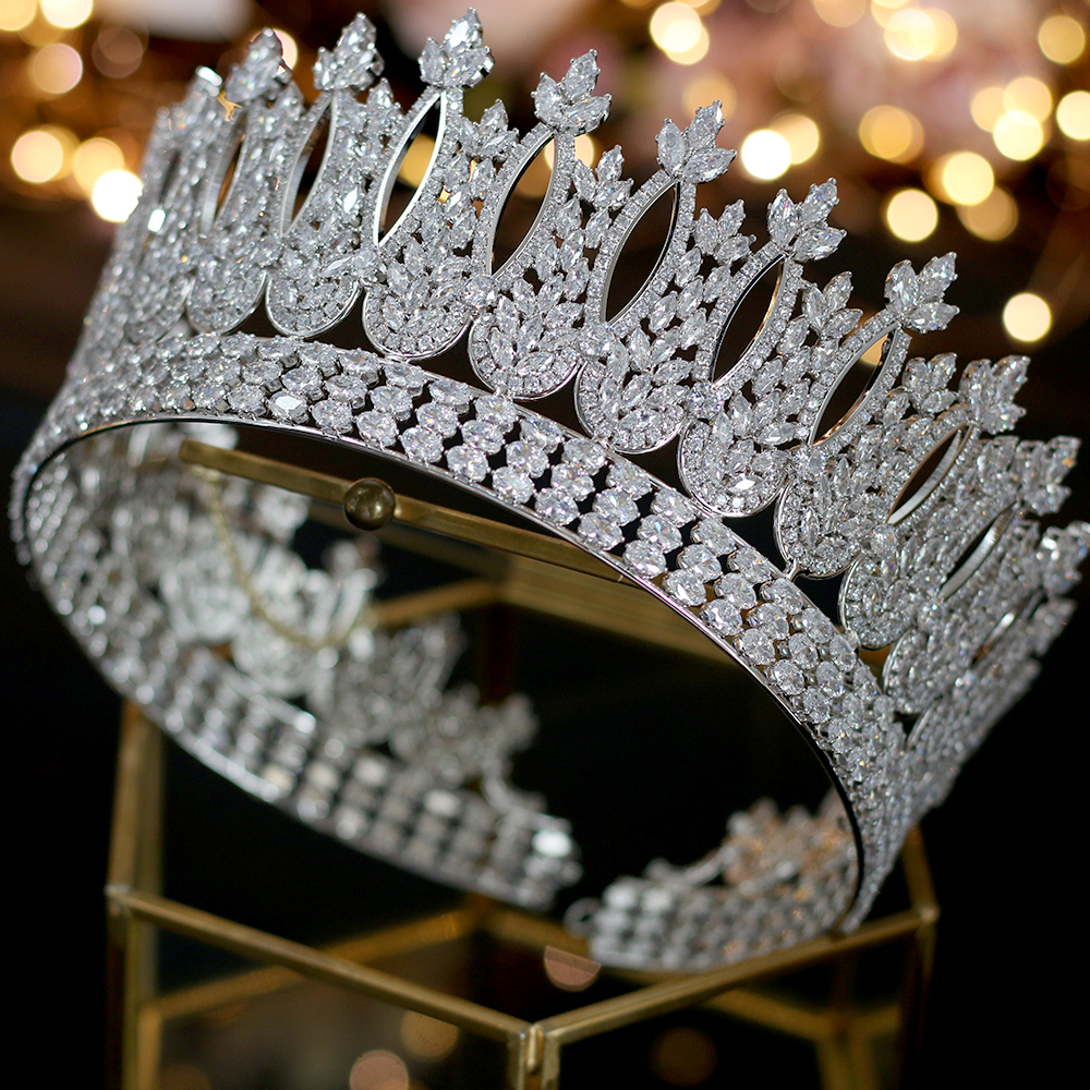 Luxury European Jewelry Round Wedding Headdress and Crown Bride Design Parade Queen's Crown