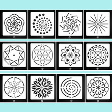 Ufurty 12pcs Mandala Auxiliary Template Stone Painting Stencils DIY Scrapbooking Album Paper Card Decorative Craft Embossing(China)