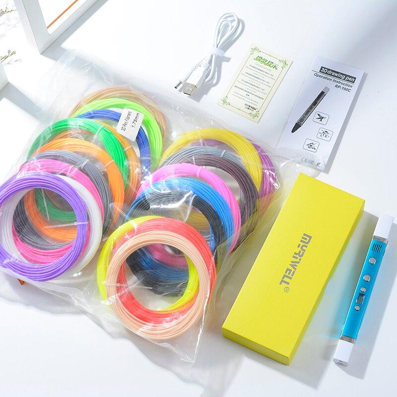 Myriwell 1.75mm ABS/PLA/PCL bricolage 3D Stylo écran lcd USB De Charge 3D Imprimante Stylo 1.75mm Filament creative Jouet Cadeau Pour Les Enfants Conception - 6