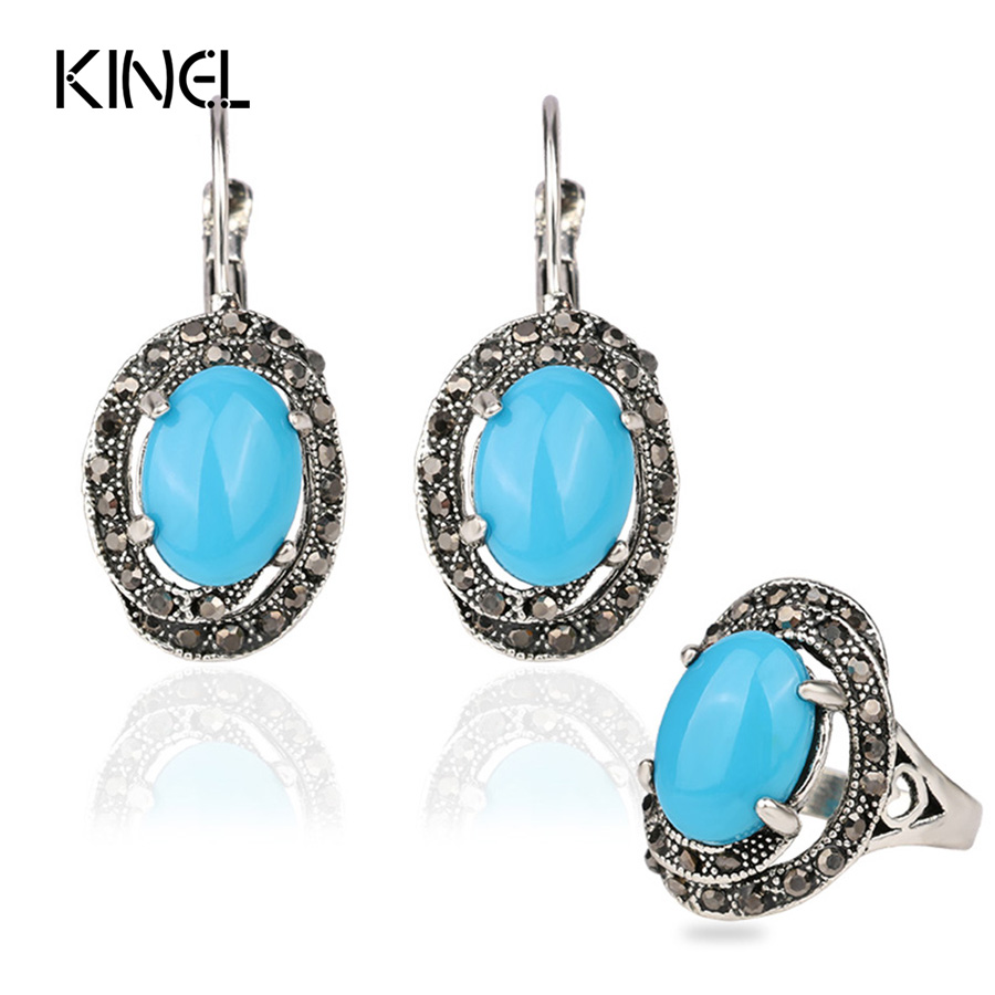 Vintage Retro  European Style  Bohemia Jewelry Sets Flower Carved  Stone Earrings Ring  Jewelry Set For Women T0041
