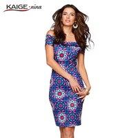 Kaige. 니나 새로운 여성 의류 소설 스타일의 셔츠 칼라 않고 단어 인쇄 장식 여름 꽉 무릎 길이 드레스 1233