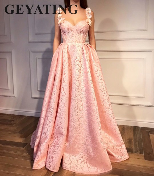 Blush Pink Lace   Prom     Dress   with 3D Flower Straps A-line Long Women Party   Dresses   Evening Formal Gowns Ladies Occasion   Dresses
