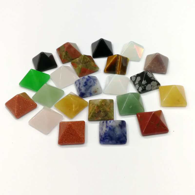 fashion 50pcs 14MM square pyramid cab cabochons mixed natural stone beads for Jewelry making Earring Pendant accessories No hole