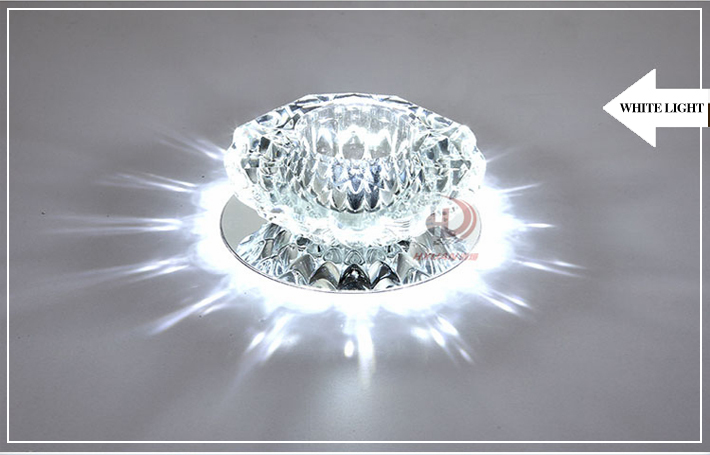 wholesale 10pcs 3w 110v 220v round led crystal ceiling lights led bathroom lamps with lustre for downlights from lights