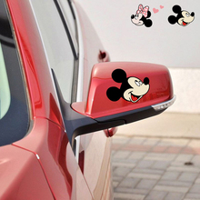 1 pair Car-styling Cute Cartoon Mickey Minnie Mouse Accessories Car Rearview Mirror Sticker and Decal for Volkswagen Polo ford