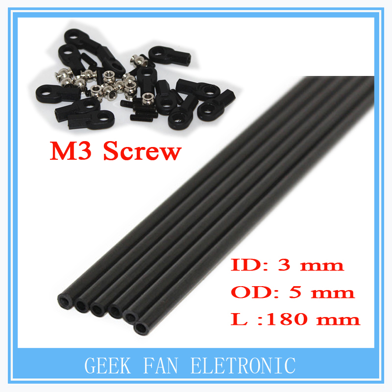 6pcs/lot 3d printer parts Rostock Delta Kossel mini K800 180mm Arms Carbon Diagnonal push rods full Kit Rod ID: 3 mm Rod OD: 5mm