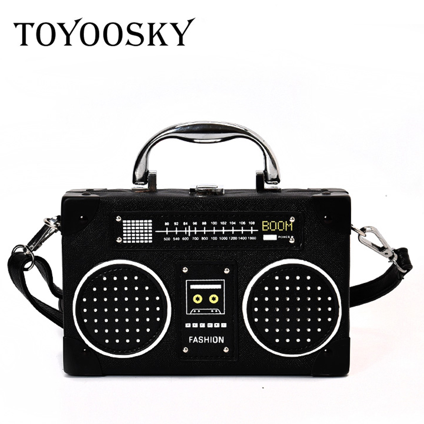 TOYOOSKY Personaliti Retro Radio Bentuk Bag Ladies Cute Leather Handbag Women Box Bahu Bag Messenger Bag Rock Crossbody Bag