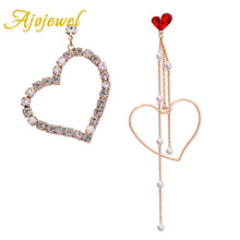 цена на Ajojewel Korea Style Rhinestone Crystal Red Heart Earrings Asymmetric Earrings For Women Chic Jewelry Bijoux Femme