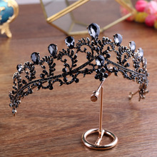 Vintage Baroque Black Crystal Bridal Tiaras CrownS Wedding Bride jewelry Rhinestone Headwear Women Handmade Hair Ornaments CR046