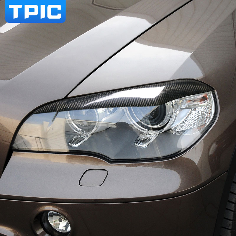 Carbon Fiber Headlights Eyebrows Eyelids for bmw x5 e70 Accessories Front Headlamp Eyebrows Car Styling makeup brushes