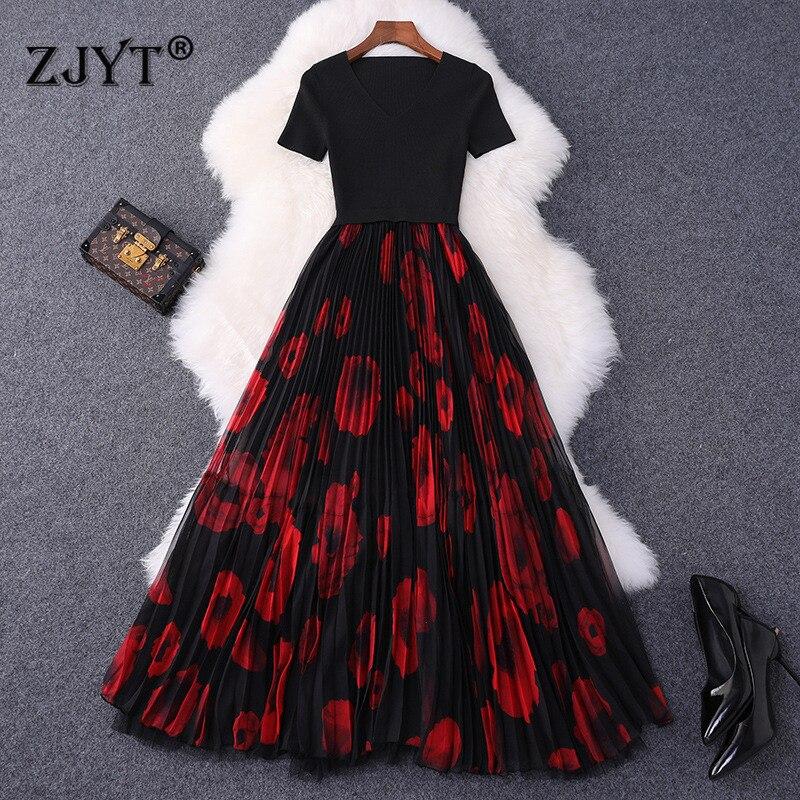 Top qualité Designer automne robe femmes 2019 nouvelle mode à manches courtes vcou tricot Patchwork imprimé Floral Midi plissée robe de soirée