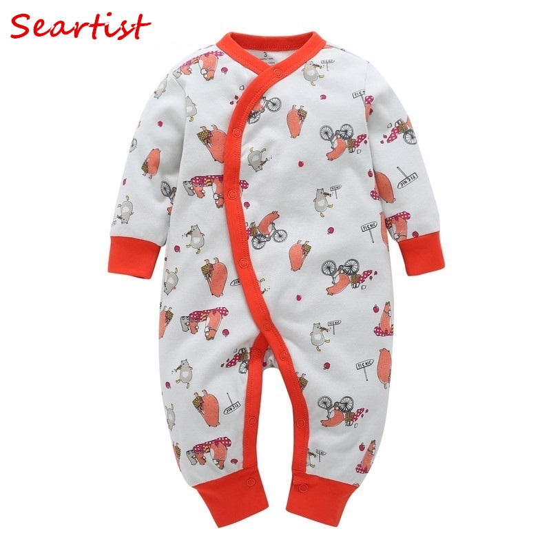 Seartist 2018 New One Piece Jumpsuit Cartoon Spring Long Sleeve Newborn Baby Boy Clothes Baby Girl Clothes Bebes Clothing 35C