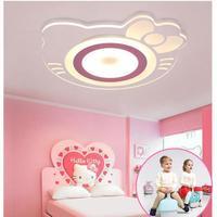 Children's Room Ceiling Lamp Girl Princess Room Creative Warm Hellokitty Cat Room Bedroom Kids Room Led Acrylic Ceiling light