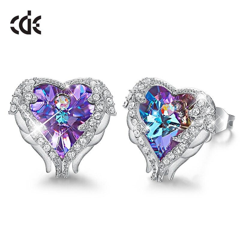 Boucles d'oreilles CDE ornées de cristaux de Swarovski femmes boucles d'oreilles ange Wing coeur boucles d'oreilles mode oreille bijoux cadeaux