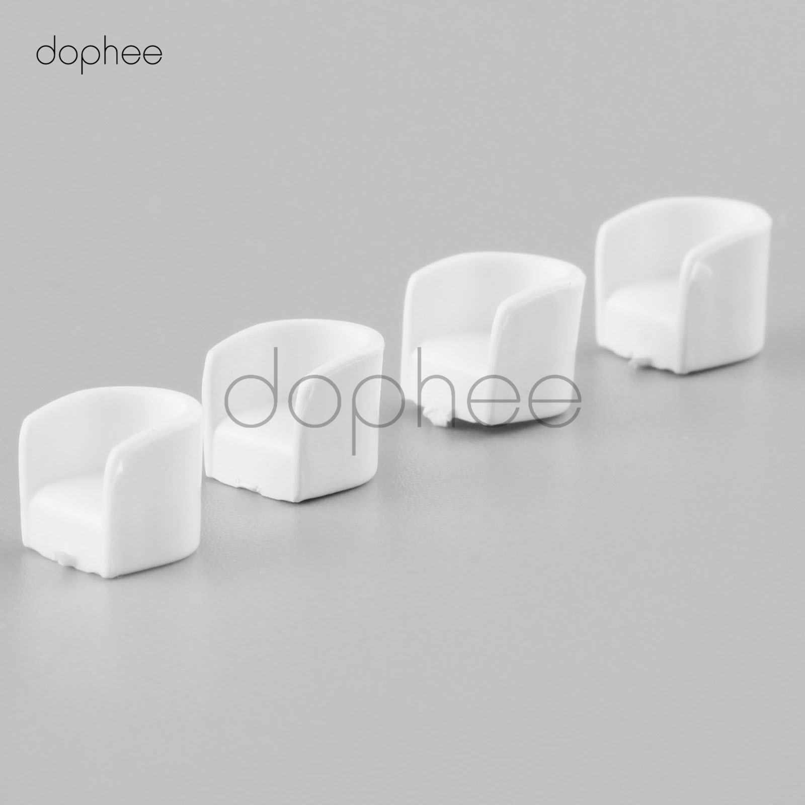 dophee 20pcs White Round sofa chair Model 1:75 Plastic DIY sand table model material