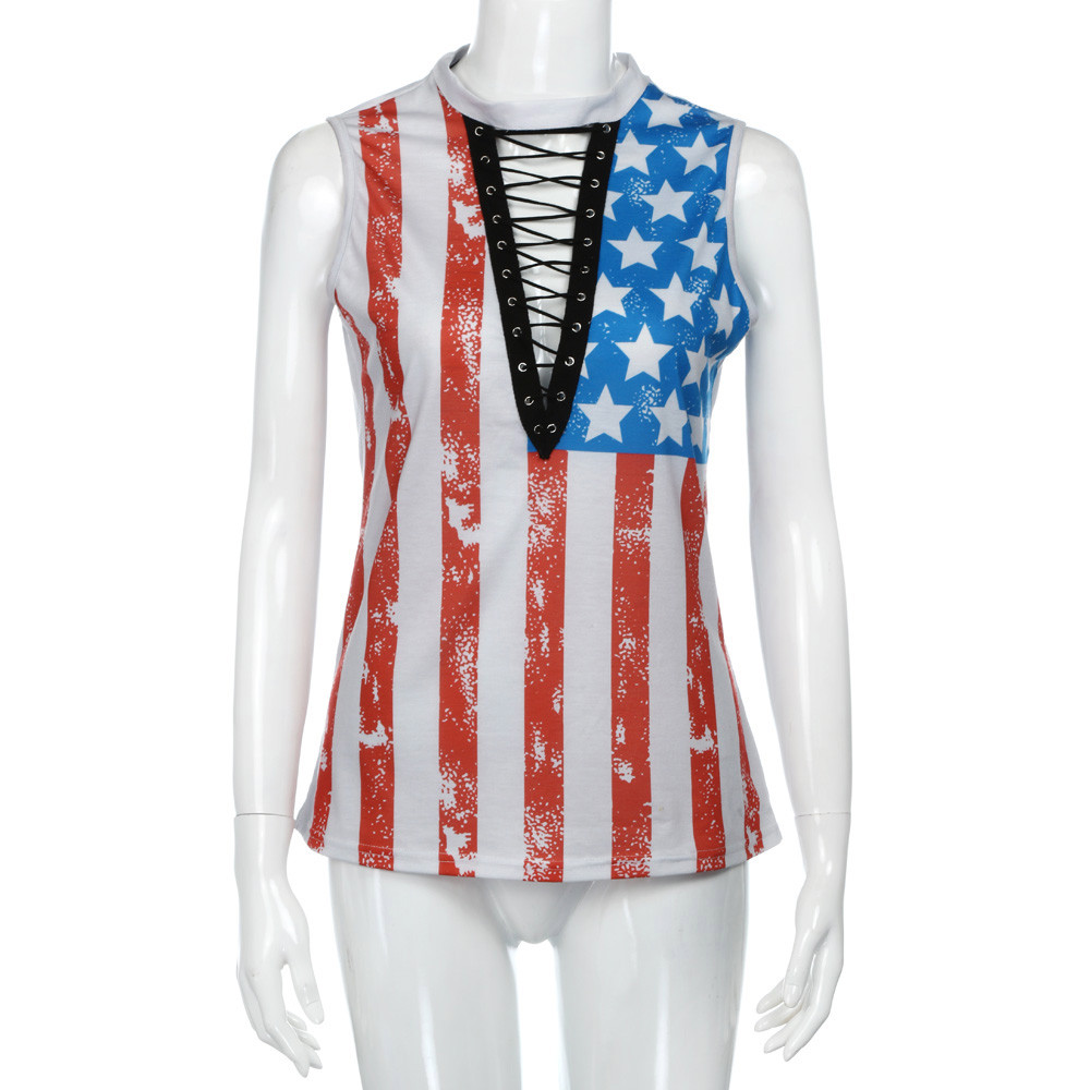 Mangas Leggings Usa Sin Camiseta Bralet Mujer Chaleco Print Señoras Para Crop Americana Bandera qFvvP1