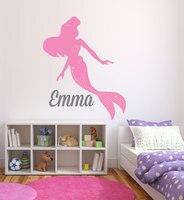 Mermaid Beautiful Silhouette With Custom Girls Name Pretty Wall Stickers Home Bedroom Nursery Like Cute Wall Murals Decal W-132
