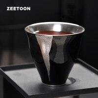 95ml Japanese Boutique Agate Glaze Cracks Silver Master Cup Teacup Coarse Pottery Tea Bowl Kung Fu