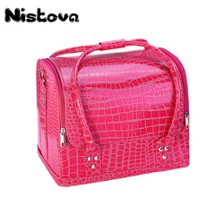 PU Leather Large Capacity Multi-layer Women Travel Shoulder Cosmetic Bag For Cosmetic Portable Makeup Bag Suitcase For Manicure