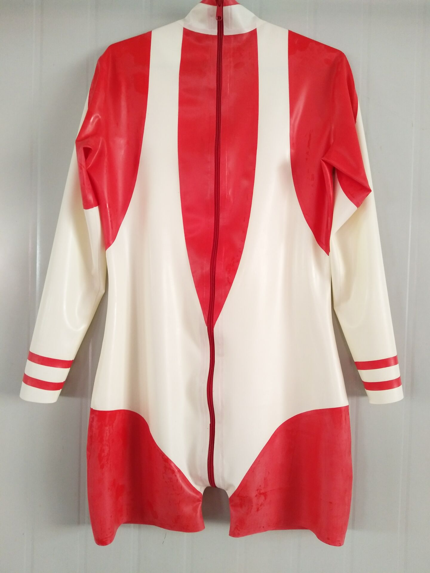 Caleçon Long en Latex unisexe rouge et blanc caleçon serré une pièce costume taille XXS-XXL