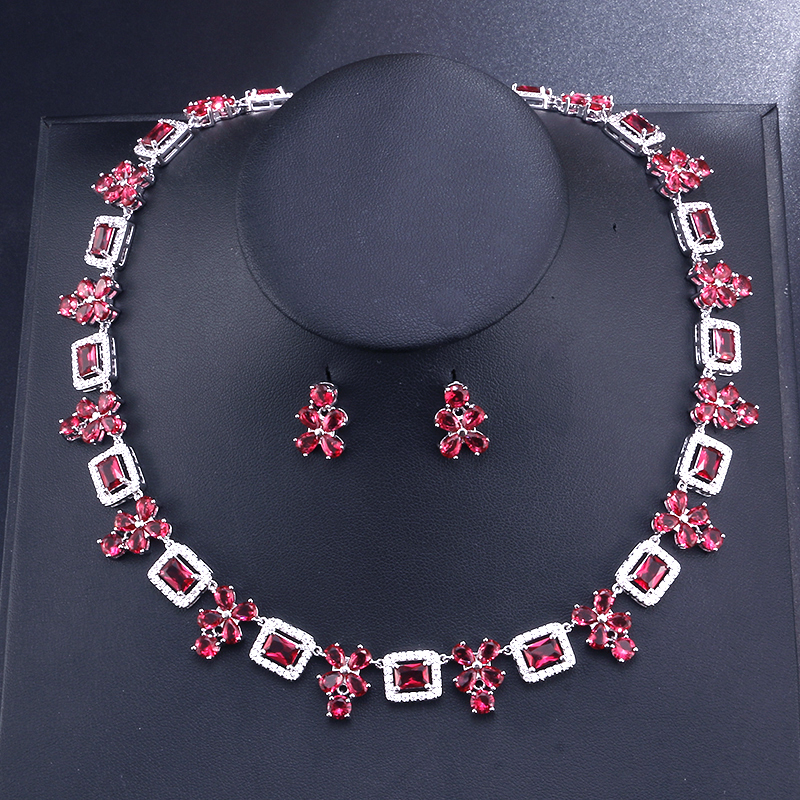 UILZ Brand New Design Dubai Wedding Jewelry Set With White Gold Rectangle Crystal Blue CZ Earrings Necklace Set US387