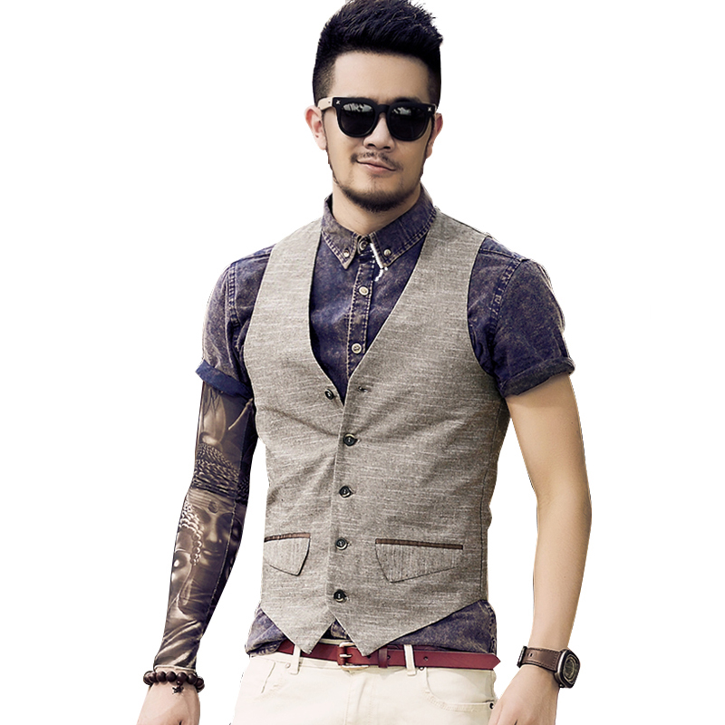 2017 Men new spring fashion printing linen vest Mens summer slim casual high quality ves ...