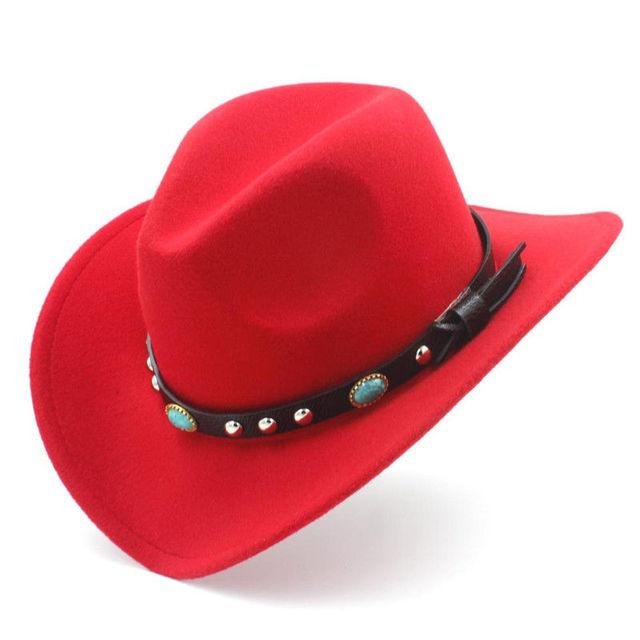 da4d9f7a6e8 Mistdawn Fashion Women Men Wool Blend Wide Brim Western Cowboy Hat Cowgirl  Jazz Caps Turquoise Leather Belt Band Size 56-58cm