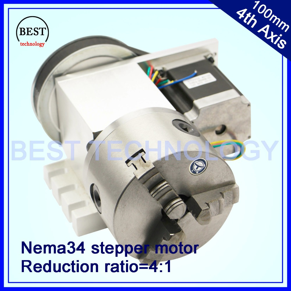 100mm CNC 4th Axis CNC dividing head/Rotation Axis/A axis kit  Reduction ratio 4:1 with Nema34 stepper motor best quality nema 34 stepper motor 4 1 k12 100mm 4 jaw chuck 100mm cnc 4th axis a aixs rotary axis tailstock for cnc router