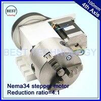 100mm cnc 4th eixo cnc dividindo a cabeça/eixo de rotação/um eixo kit relação redução 4:1 com nema34 motor deslizante|cnc milling machine parts|cnc accessories|cnc price -