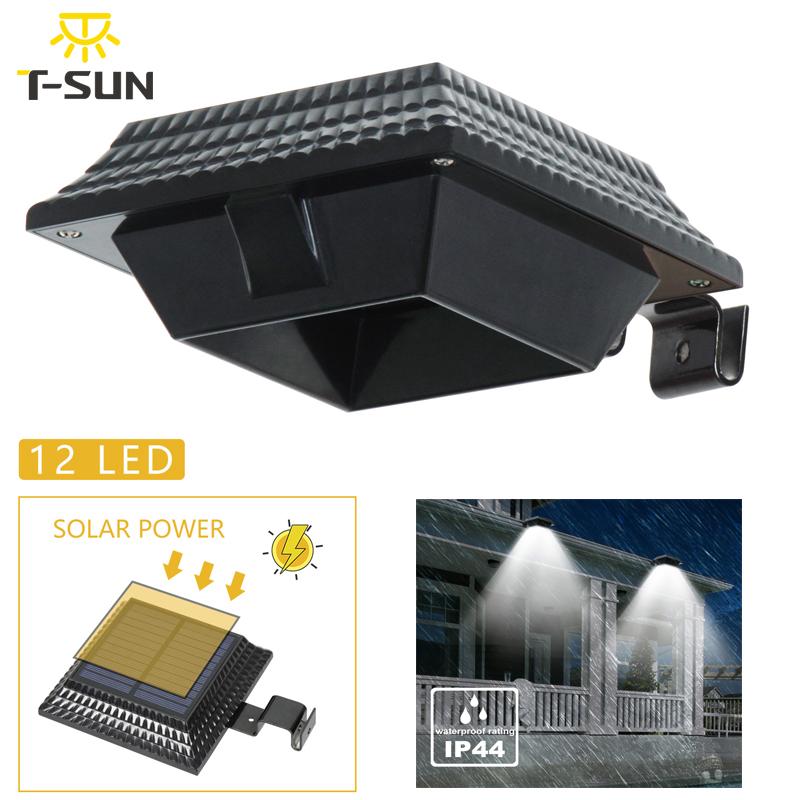 T-SUN 12LEDs Solar Wall Light Solar Power Gutter Grille Light For Yard Pathway Fence Garden Decor PIR Motion Sensor Wall Mount