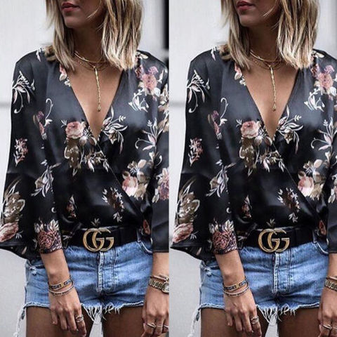 2019 New Womens Tops And Blouses Fashion Long Sleeve Floral Silk Shirts Blouses Summer Outwear Women Ladies Outfits Shirts Karachi