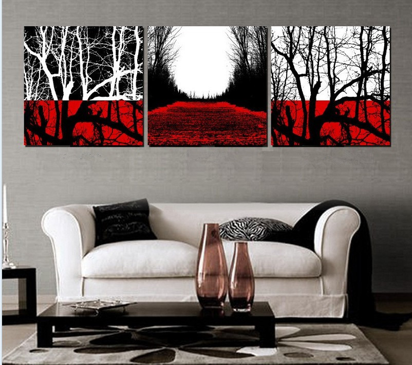 Lovely Handmade 3 Piece Black White Red Abstract Landscape Wall Art Oil Painting  On Canvas Tree Pictures