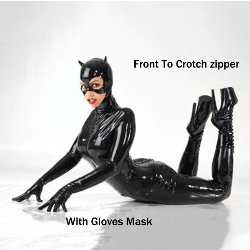 Plus Size S-5XL Women <font><b>Sexy</b></font> Black Faux Leather Catsuit Catwoman Costume Clubwear <font><b>Halloween</b></font> Cosplay With <font><b>Mask</b></font> Bondage Bodysuit image