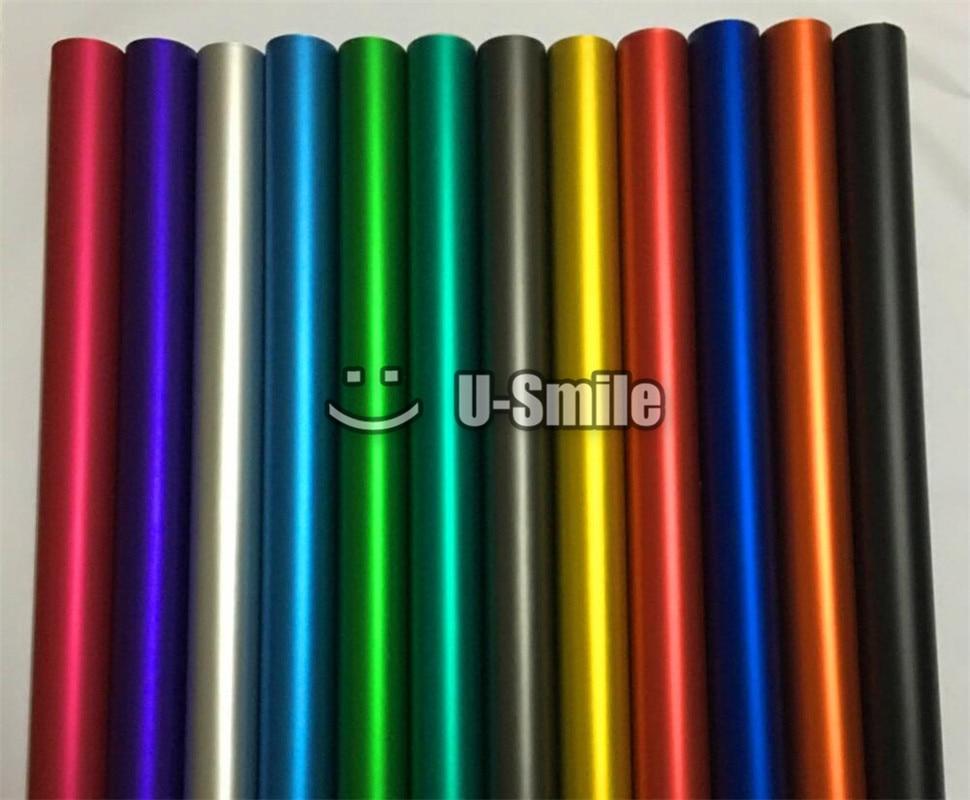Divers Couleurs Rouge Bleu Or Vert Violet Mat Satin Chrome Vinyle Wrap Film Autocollant Decal Bulle Sans Voiture Enveloppant le Film