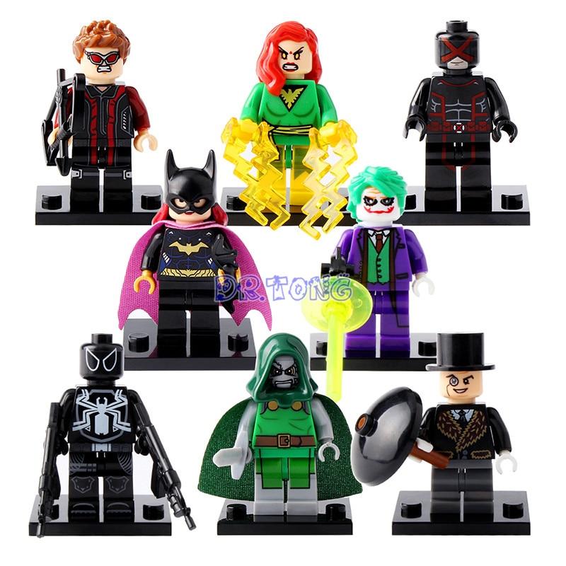 DR.TONG X0106 Super Hero Mini Dolls Penguin Venom Cyclops Doctor Doom Joker Clown Batgirl Building Blocks Children Gift Toys пинетки митенки blue penguin puku