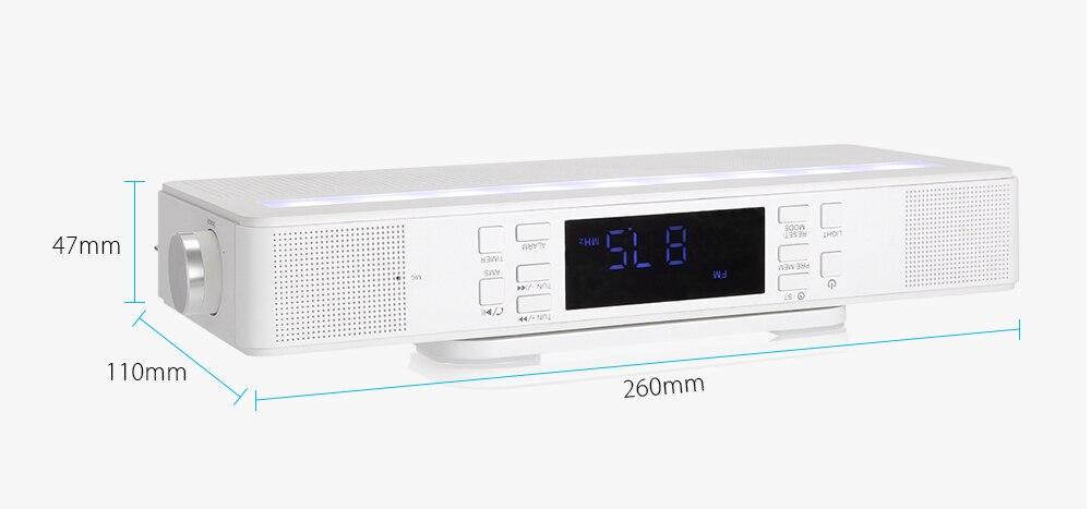 Kitchen Under Counter FM Radio Player Bluetooth Speaker Digital Quality Music