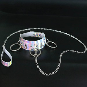 Holographic Choker punk emo rave choker accessory chocker necklace iridescent rainbow Leather collar girl festival oufit jewelry(China)