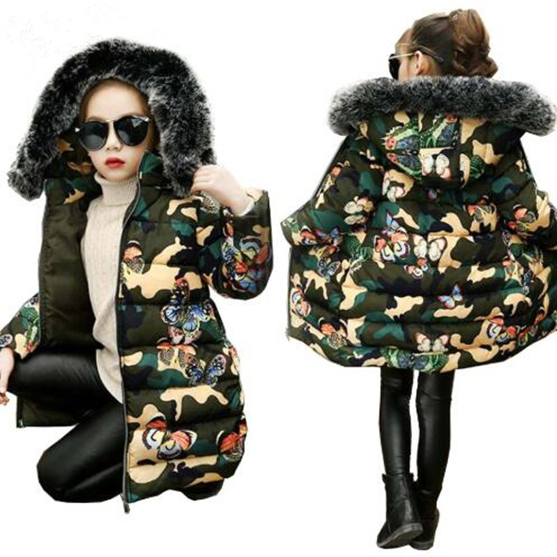 Girls clothes kids winter thickening cotton jacket girls long style butterfly camouflage warmly coat girls tops baby outwear novelty grey uniform style professional business women 2015 female blazers jackets outwear coat tops clothes blaser work wear