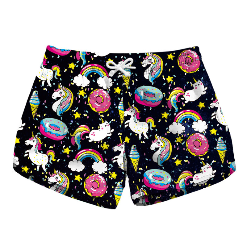 New Beach Summer Unicorn   Shorts   Casual Womens Elastic High Waist   Shorts   Quick Dry All Over Print 3D Sweatpants Cool   Short   Pants