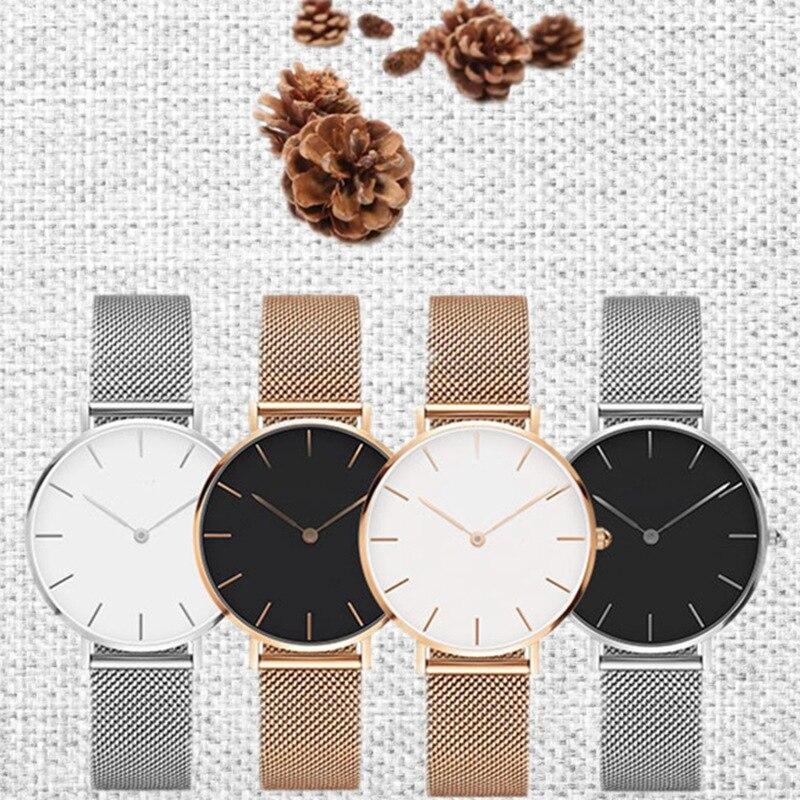 SANSHOOR las mujeres simples relojes con malla de acero inoxidable pulsera 14mm ancho 115mm longitud ajuste Keeper diapositiva encantos brazalete joyería