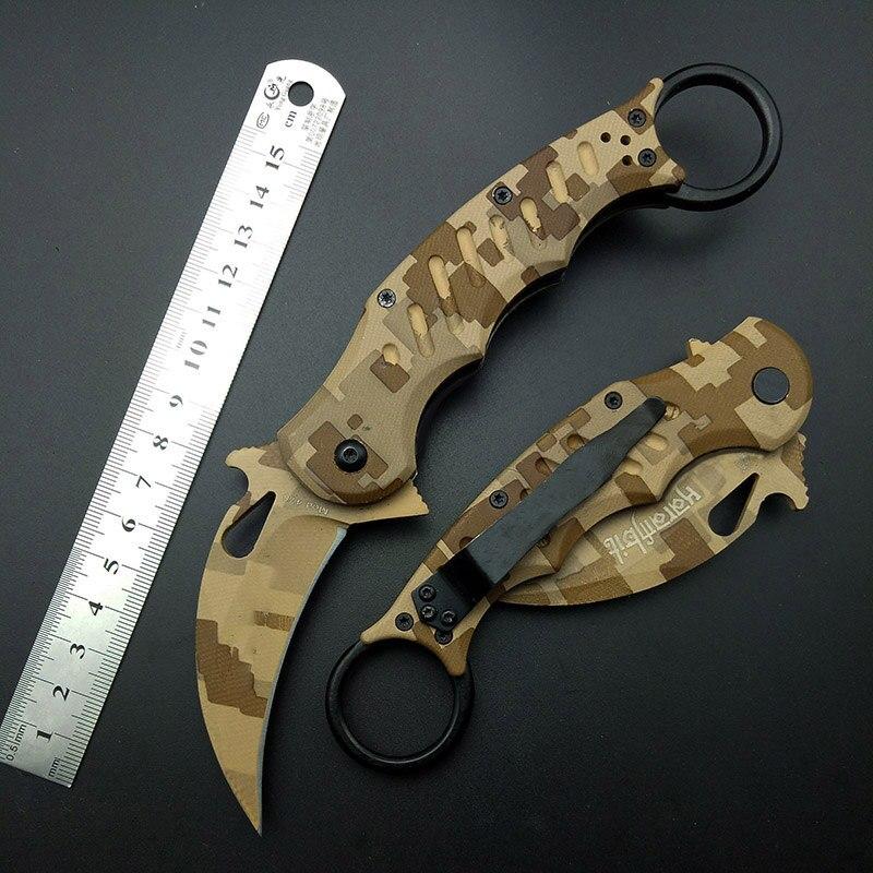 Karambits Taktische Messer OEM EDC Klaue Korrosion Muster 440C Klinge Wüste Griff Tasche Messer Überleben Werkzeug Outdoor Geschenk