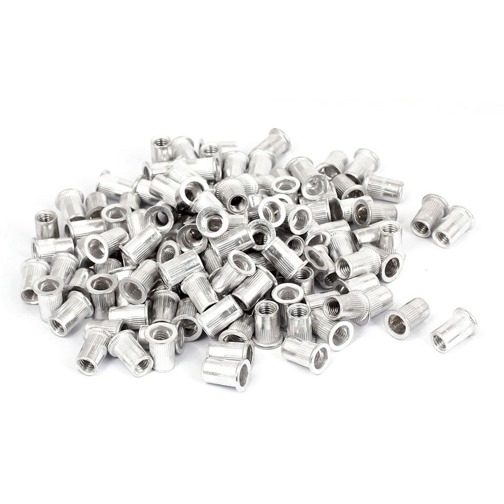 300pcs Aluminum Flat Head Knurled Body Threaded Rivet Nut Inserts M8x18mm m2 copper flower mother nut double injection through knurled insert m3x8m3x15