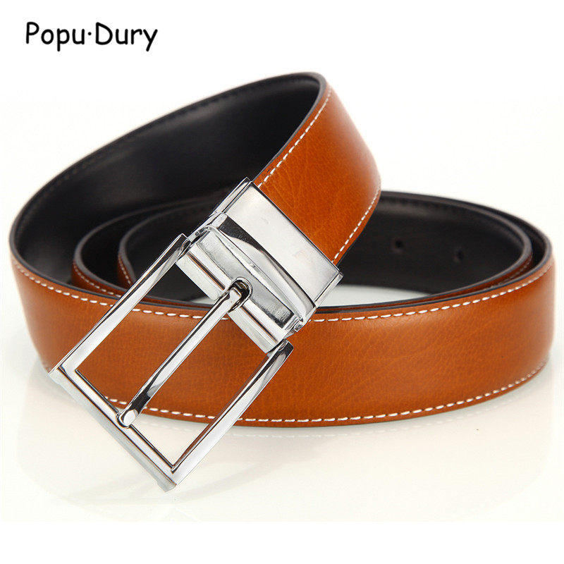 Popu`Dury 2018 New Luxury Mens Belts Fashion 360 Rotate Pin Buckle Straps Jeans Women Two Sides Used Leather Belt Real Leather