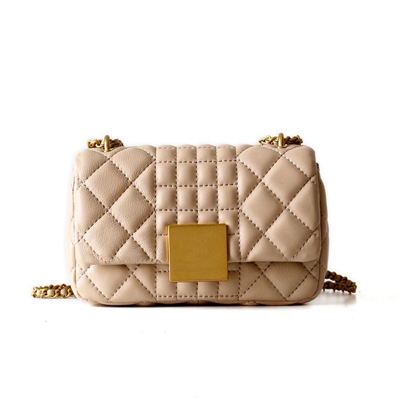 Detail Feedback Questions about Diamond Lattice Small Flap Bag Sheepskin  100% Genuine Leather Women Crossbody Bag Natural Leather Lambskin Chain  Shoulder ... 3f50da92198a7