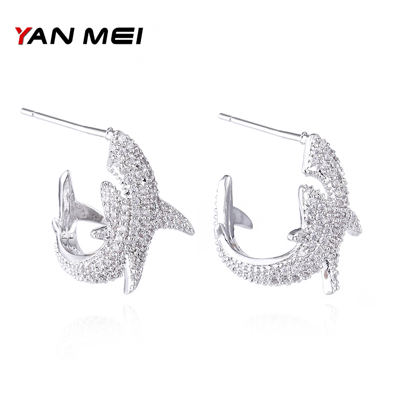 Yanmei Aaa Zirkonia Dolphins Stud Ohrringe Für Frauen Kristall Tiere Ohrring Für Party Mode Schmuck Yme7762